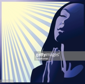 Image of a devoted young woman praying for love and peace.